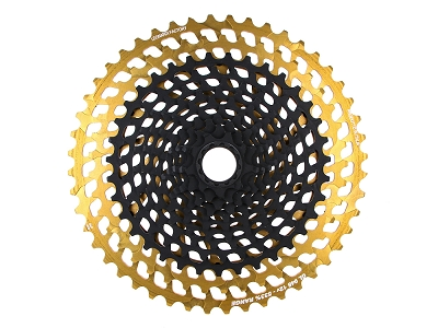 <b>New!</b> Leonardi - GENERAL LEE 948 V12 - 12 speed cassette 9 tooth x 48 tooth black CNC machined/Gold 7075 T6. Fits XD only.