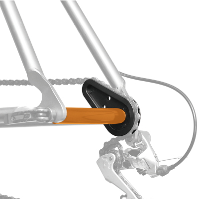 IceToolz ChainMaster for chain stay/dropout/derailleur protection during transport.